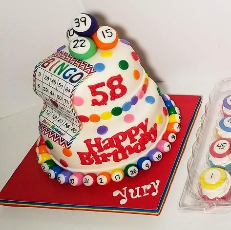 Bingo Birthday Bash Cake and Cupcakes