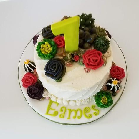 Succulent Buttercream Birthday Cake