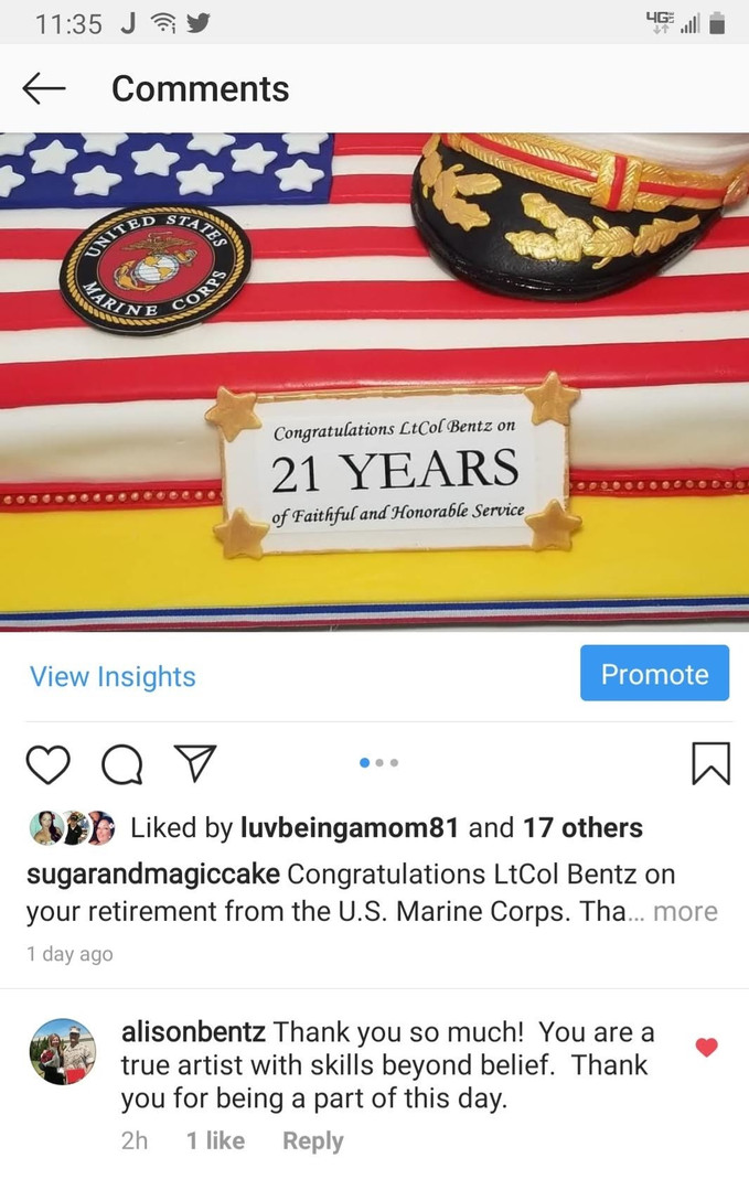 Instagram-USMC Retirement Cake