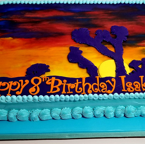 Joshua Tree Handpainted Sunset Cake