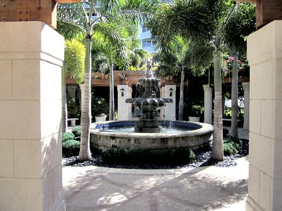 Exterior Wooden Trellis Pool Area Williams Island Miami Florida Aventura FL