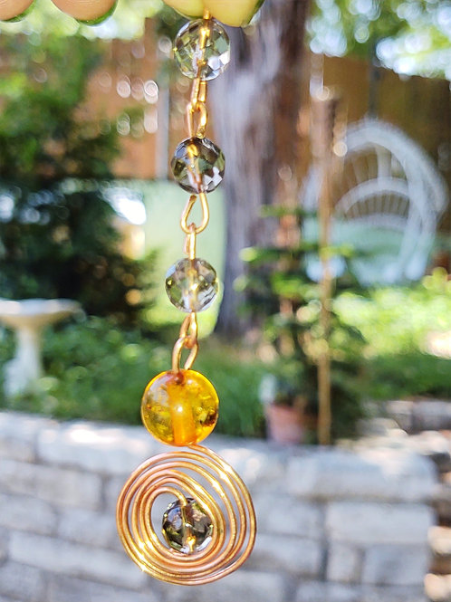 Stunning Handmade Pure Copper Amber and Smoky Quartz Forever Necklace