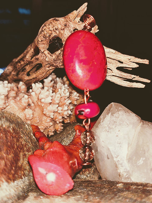 Stunning Red Coral Pendant with matching earrings