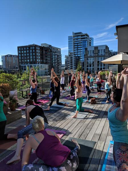 Yoga class on the terrace