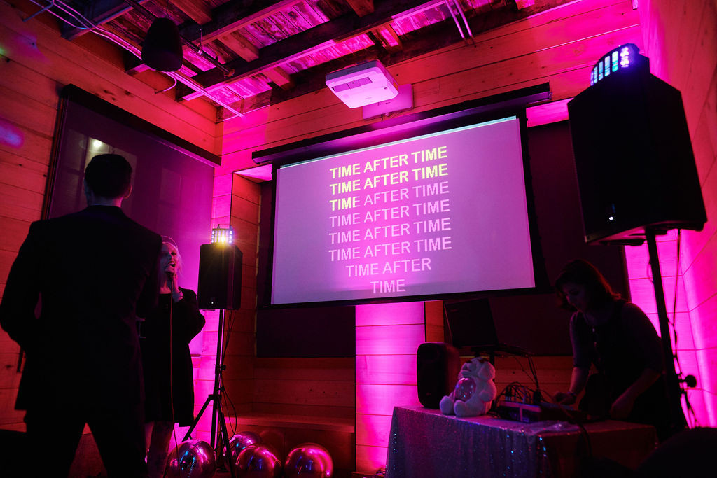 Karaoke lyrics on the screen
