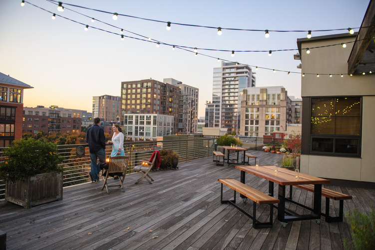 Guests Take in View from Rooftop Terrace