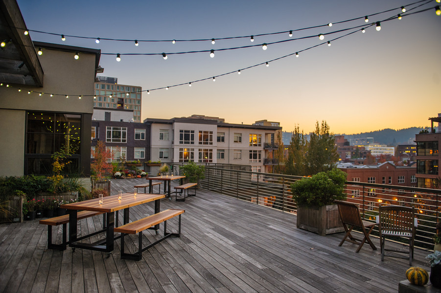 The rooftop terrace at sunset