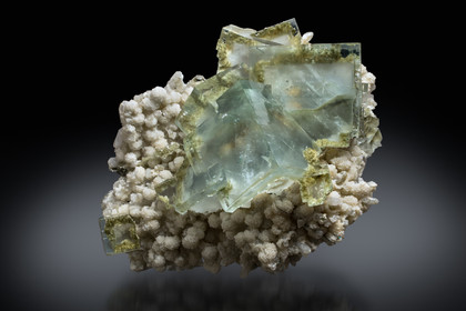 Fluorite with Calcite & Quartz
