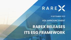 RareX Releases Its ESG Framework