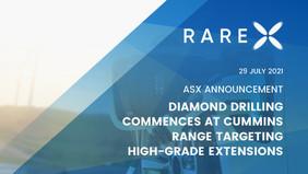 Diamond Drilling Commences At Cummins Range Targeting High-Grade Extensions