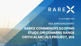 RareX Commences Scoping Study on Cummins Range Critical Metals Project, WA