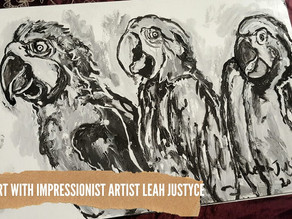 DAILY ART VIDEO | AMAZING ART VIDEO | PAINTING MACAW PARROT [Leah Justyce Artist]
