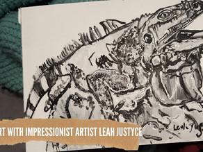 DAILY ART VIDEO | AMAZING ART VIDEO | PAINTING AN IGUANA [Leah Justyce Artist]