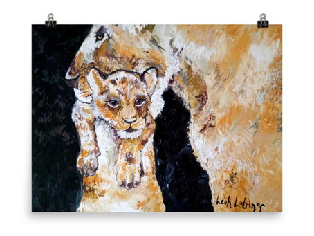 Lioness and Cub Close Up Poster By Leah Justyce Artist