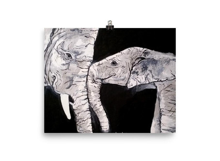 Baby Elephant and Mother Elephant Close Up Poster By Leah Justyce Artist