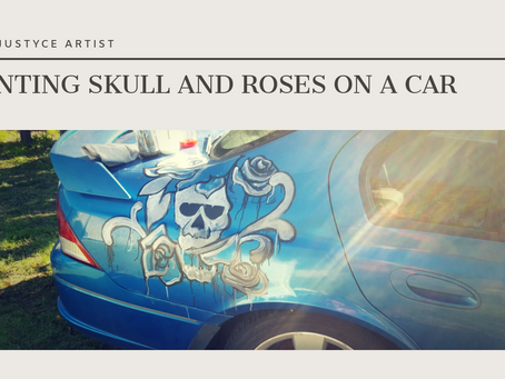 DAILY ART VIDEOS | HOW TO PAINT SKULL AND ROSES ON A CAR [Leah Justyce Artist]