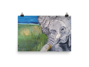 Baby Elephant Close Up Poster By Leah Justyce Artist