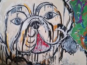 BRITISH BULLDOG POP ART - Original Oil Painting By Leah Justyce (BaVA)