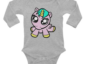 Baby Unicorn Infant Long Sleeve Bodysuit Limited Edition Clothing By URBAN JUSTYCE CLOTHING