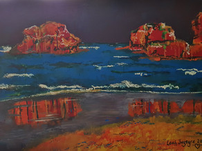 TORQUAY AUSTRALIA IN CHAKRA COLOURS - Original Oil Painting By Leah Justyce (BaVA)