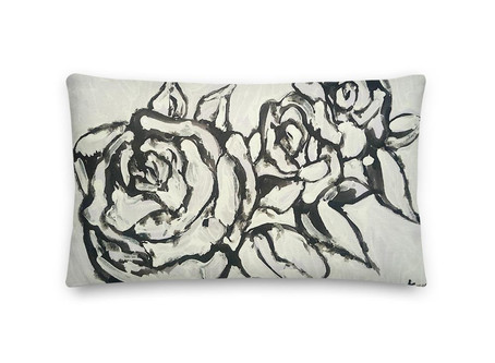 Black and White Roses Premium Pillow By Leah Justyce Artist Print On Front and Back
