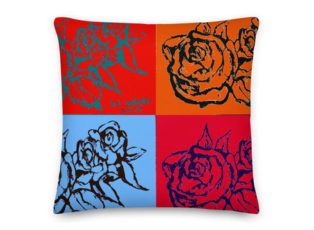 Andy Warhol Inspired Red Roses Premium Pillow By Leah Justyce Artist