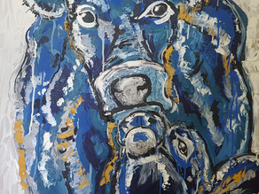 BLUE COWS - Original Oil Painting By Leah Justyce (BaVA)