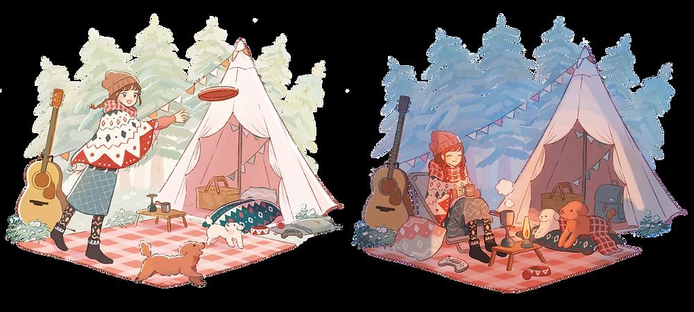 絵本の世界のような温かみのあるタッチで描かれた、 亜咲花と愛犬たちの様子がキュートなイラストデザインとなっています。