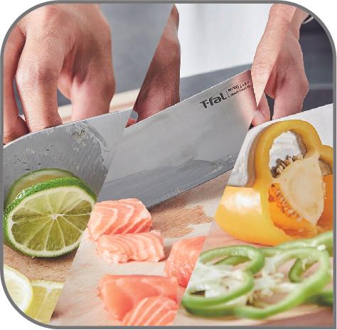 エバーシャープ専用ナイフ 最も使用頻度の高い三徳16.5cm 肉・魚・野菜など様々な食材のカットに使える万能ナイフです。日本仕様の直角の刃のあごでじゃがいもの芽とりなどにも便利。