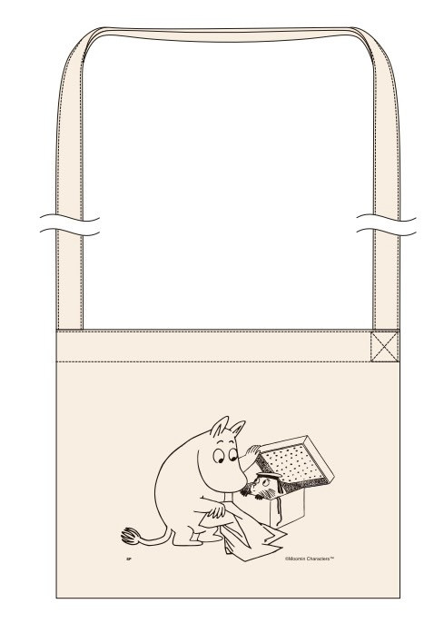 見たものは全部かじりたいという、ムーミン谷の住人「ニブリング」。そんな彼が箱から顔を出しているイラストが描かれたトートバッグとサコッシュはどちらも普段使いできるデザインに。