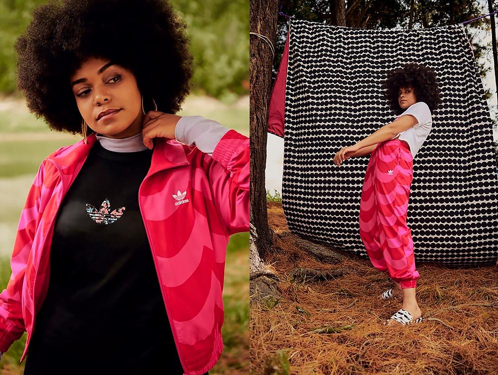 adidas x Marimekko Track Top (トラック トップ): 商品番号:H20484, 自店販売価格:¥10,989 (税込)  adidas x Marimekko Track Pant (トラックパンツ): 商品番号:H20480, 自店販売価格:¥9,889 (税込)