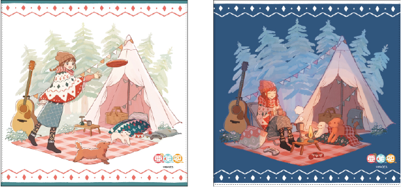 「愛犬とのキャンプ」をテーマとした描きおろしイラストを用いたグッズがヴィレヴァン限定で登場!ハンドタオル