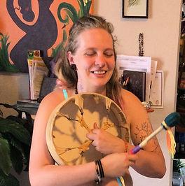 "customer with her 12"" shaman drum"