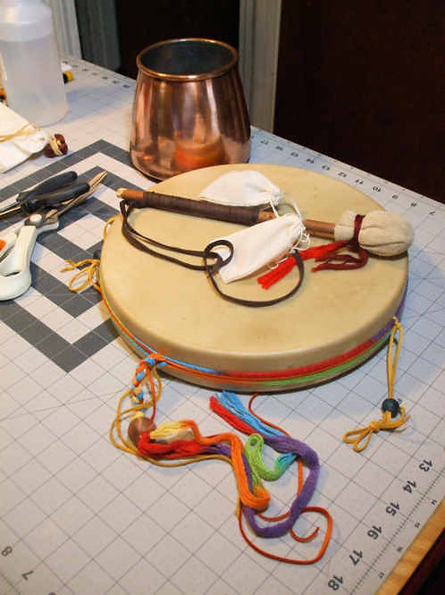 "Elk 12"" Decorated Drum w/ all accessories"