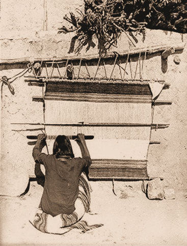 vintage photo of a Hopi weaver