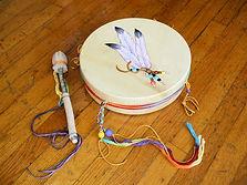 12 inch shamanic drum decorated painted drum.jpg