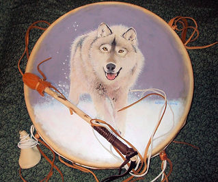 "snowy wolf painted on a shamanic 12"" drum"