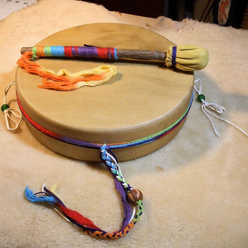 "ELK 12"" Decorated DEEP FRAME Drum w/All Accessories"