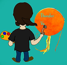 a long-haired artist paints a Thunder Valley Drum
