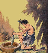 an old comic book illustration of a caveman hollowing out a drum with a stone hammer and chisel