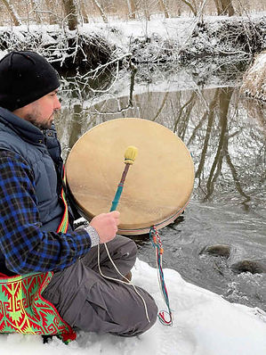 """Customer with BIG 20"""" Elk Drum"""