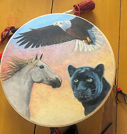 Thunder Drum painted with Nothern Lights and Wolf