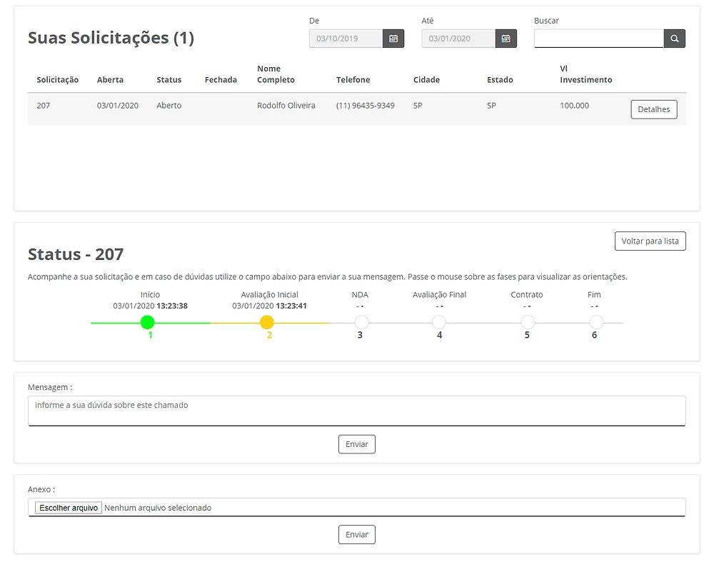 """Figura 3: Exemplo de detalhes na tela de consulta da solicitação """"Seja um franqueado"""""""