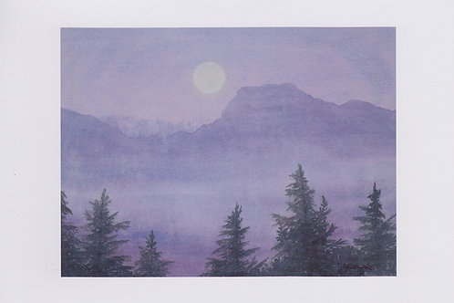 絵葉書『月と有明山』