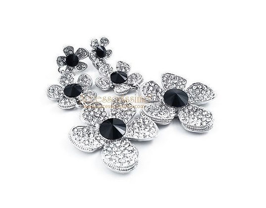 CRYSTAL FLOWER BLACK - Pendientes