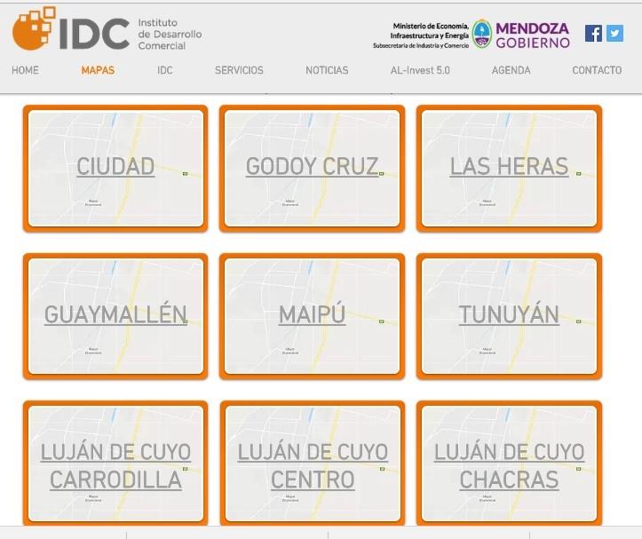 Economía creó mapas interactivos de los principales corredores comerciales del Gran Mendoza y Tunuyá