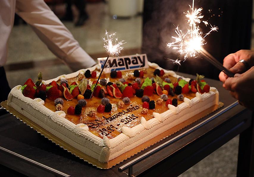 Imagen de una tarta con el logotipo de Mapay