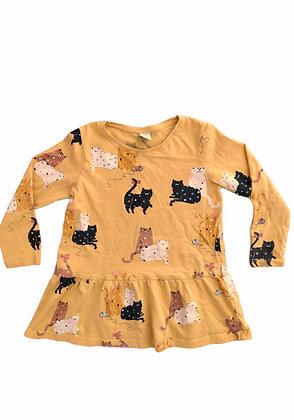 Triko šaty s kočičkama, LINDEX, vel. 4-5 let
