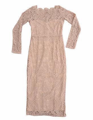 Pudrové, krajkové šaty, NEXT, vel. 40
