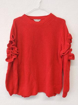 Červený svetr s průstřihy na ramenou a s volánky, Miss Selfridge, vel. 38